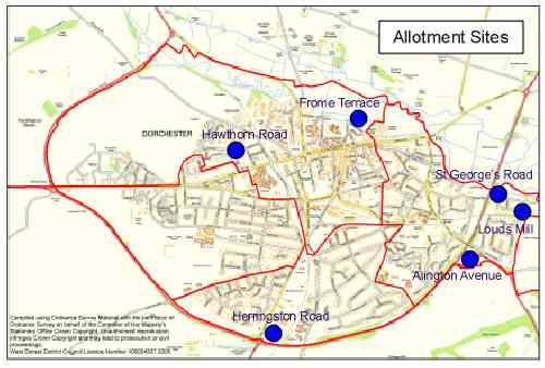 Map showing allotment sites